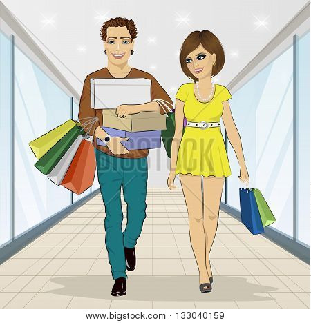 Handsome man carrying stacks of boxes and shopping bags while his girlfriend looking at him