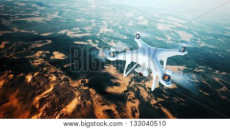 Image White Matte Generic Design Air Drone with action camera Flying Sky under Earth Surface.Uninhabited Desert Mountains Sunset Background.Horizontal, front top angle view.Film Effect. 3D rendering