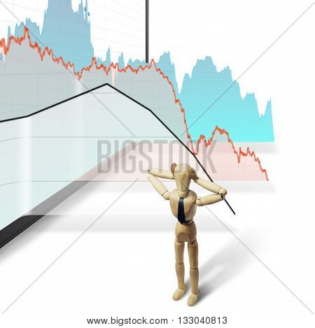 puppet holding his head against a background of falling charts isolated