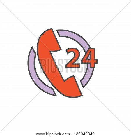 Twenty four hours support service vector icon. Colored line icon