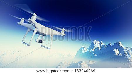 Photo White Matte Generic Design Modern RC Air Drone with action camera Flying in Sky under the Earth Surface. Grand Canyon Background. Horizontal, front side angle view. Film Effect. 3D rendering