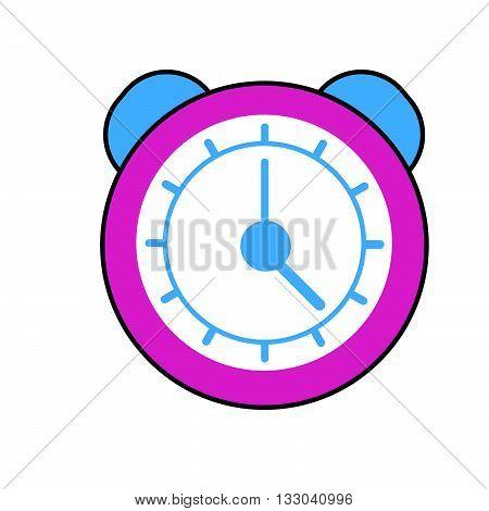 Alarm clock vector icon. Colored line icon of clock