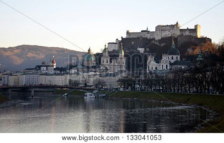 Hohensalzburg Castle and Salzach River in winter (Sazburg, Austria)
