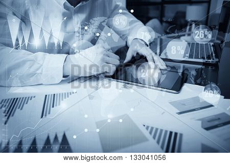 Sales Department Work Online Process.Photo Trader working Market Report Documents Touching Screen Tablet.Using Graphics, Stock Exchanges Reports, Digital Interfaces.Business Project Startup.Black White