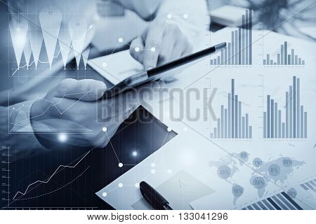 Photo Analytics Department working Market Charts.Banker Manager work process.Use Digital devices.Graphic icon, Worldwide Online Stock Exchanges Interface on Screen.Business Project Startup.Black white