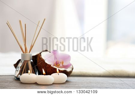 Spa set with coconut, aroma stick and candles