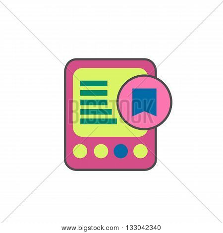 E-book with bookmark line icon. Vector illustration of electronic book reader