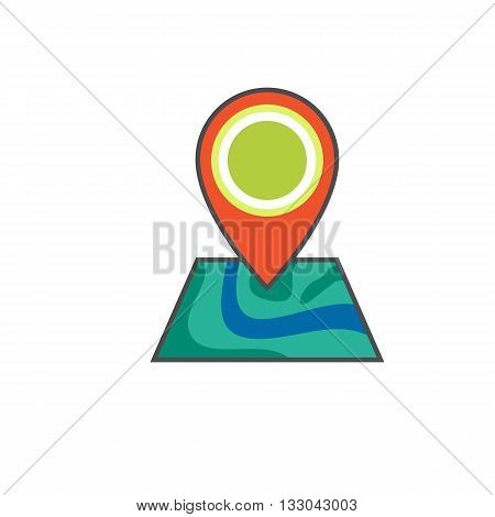 Map pointer vector icon. Colored line illustration of map with pointer