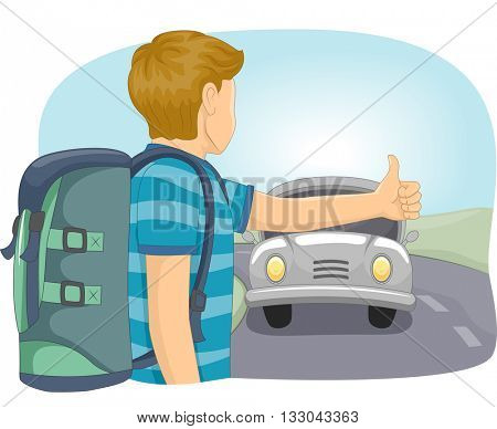 Illustration of a Teenage Boy Hitching a Ride