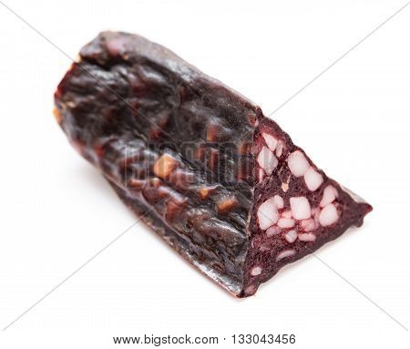 cut jerked sausage isolated on white background