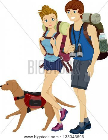 Illustration of a Teenage Couple Hiking Together