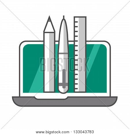Stationery colored line icon. Vector illustration of pencil, pen and ruler in pen-case