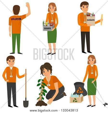 Volunteer People plant trees, remove debris and help the poor. Vector flat cartoon illustration