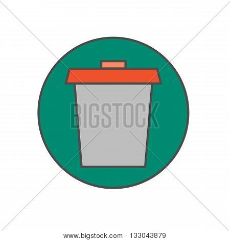 Trash bin vector icon. Colored line illustration of special container for rubbish