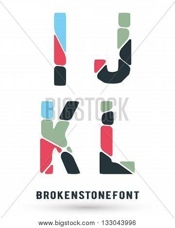 Alphabet broken font template. Set of letters I J K L logo or icon. Vector illustration.