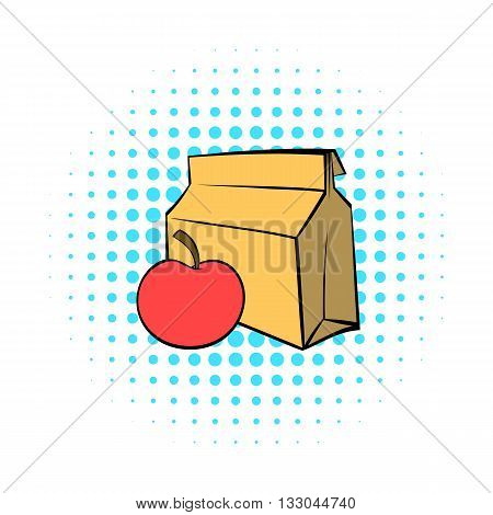 Apple and a paper bag with lunch icon in comics style on a white background