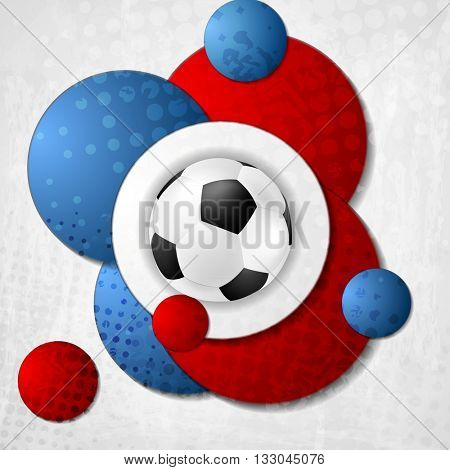 European Football Championship in France. Abstract background with circles colored in French flag. Vector Euro sport ball design