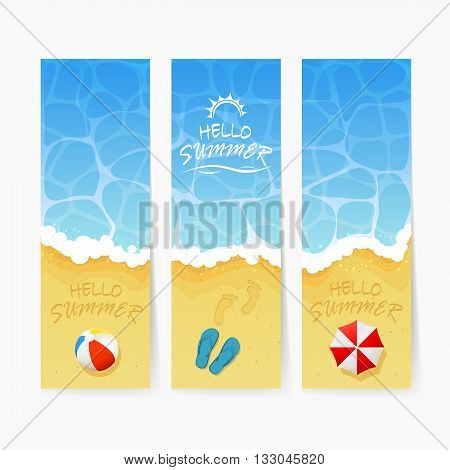 Set of beach Summer cards, inscription Hello Summer and ocean wave on a sandy beach with colored beach ball, flip flops with footprints and beach umbrella, illustration.