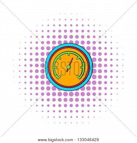 Orange speedometer icon in comics style on a white background