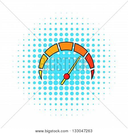 Tachometer icon in comics style on a white background
