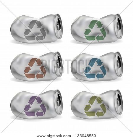 jammed aluminum cans eps10 vector isolated on white