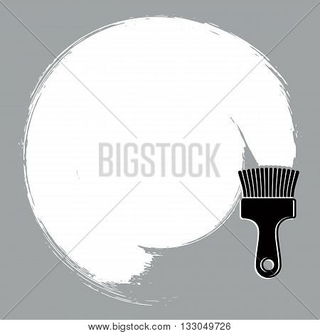 Black and white curve vector illustration brushed circular shape. Monochrome grunge round figure acrylic sample created with paintbrush.