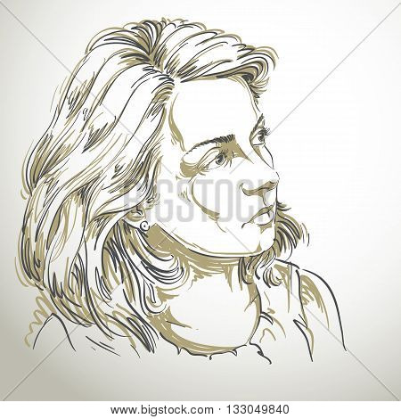 Vector drawing of peaceful woman with stylish haircut. Black and white portrait of attractive calm romantic lady.