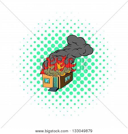 House on fire icon in comics style on a white background