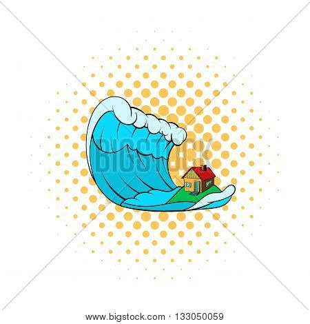 Big wave of tsunami over the house icon in comics style on a white background