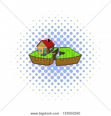 Earthquake and damaged home icon in comics style on a white background