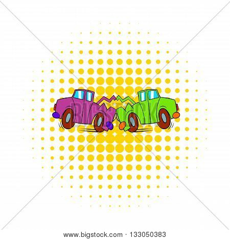 Car crash icon in comics style on a white background
