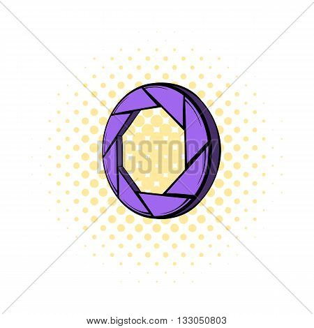 Violet camera aperture icon in comics style on a white background