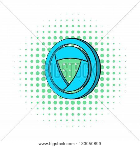 Blue camera aperture icon in comics style on a white background