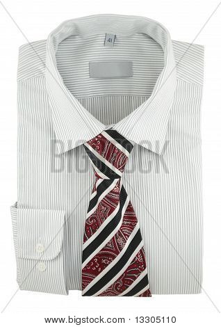 New Striped Shirt With Paisley Necktie