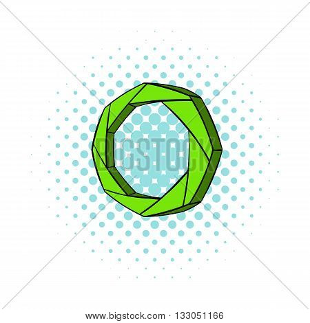 Green camera aperture icon in comics style on a white background