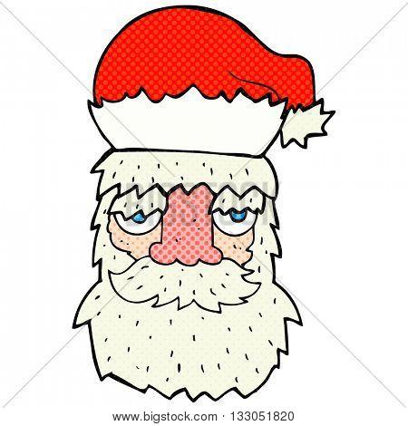 freehand drawn cartoon tired santa claus face