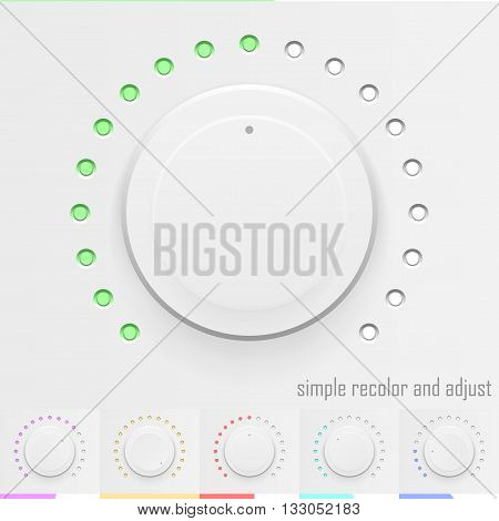 White technology music button volume knob with realistic designed shadow range scale and light background for internet sites web user interfaces UI applications. Vector illustration.