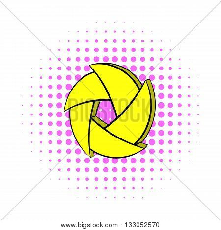 Yellow camera aperture icon in comics style on a white background