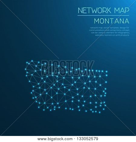 Montana Network Map. Abstract Polygonal Us State Map Design. Internet Connections Vector Illustratio