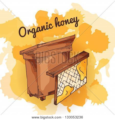 Apiary icon for your design. Vector sketch, sweet natural food. Honey production in hand drawn style