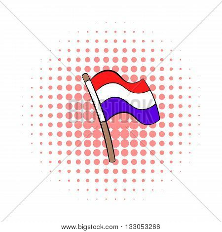 Flag of the Netherlands icon in comics style on a white background