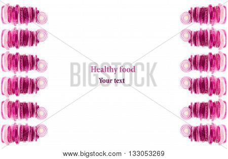 Composition of chopped pink onion. Border of pyramids pink onion. Frame with copy space. Concept art. Pattern. Food background.