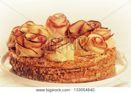 Honey Cake decorated with apple shaped roses