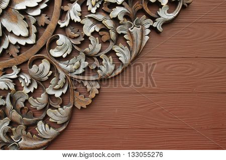 The Beautiful wooden texture a carving patterns