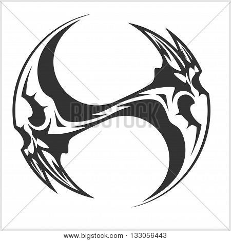 Yin Yang Skull - isolated in white - black and white tattoo design