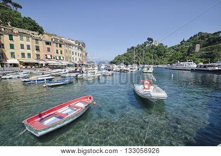 Portofino Italy - May 29 2015: View of the colorful bay of Portofino