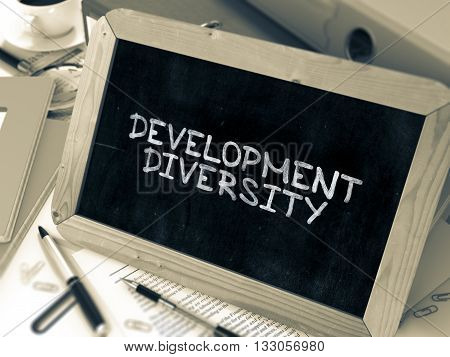 Development Diversity Concept Hand Drawn on Chalkboard on Working Table Background. Blurred Background. Toned Image. 3D Render.