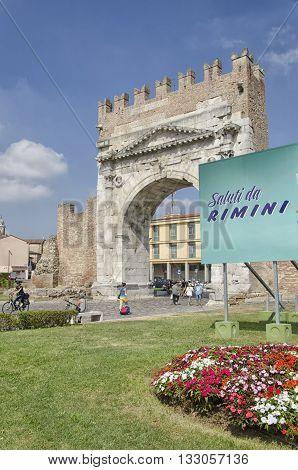 Rimini, Italy - August 03, 2015: View of the Augustus Arch in Rimini