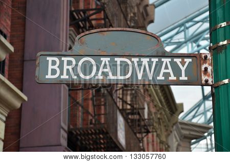 Street sign on the corner of Broadway New York
