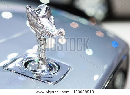 Bangkok - March 22 : logo of Rolls Royce on bumper - in display at The 37th Bangkok international Motor Show 2016 on March 22 2016 in Bangkok Thailand